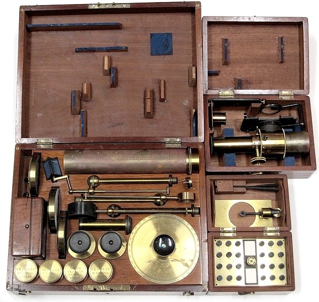 R. & J. Beck, 31 Cornhill, London, #6251. The Large Best Portable Binocular Microscope, c.1872. Extra accessories