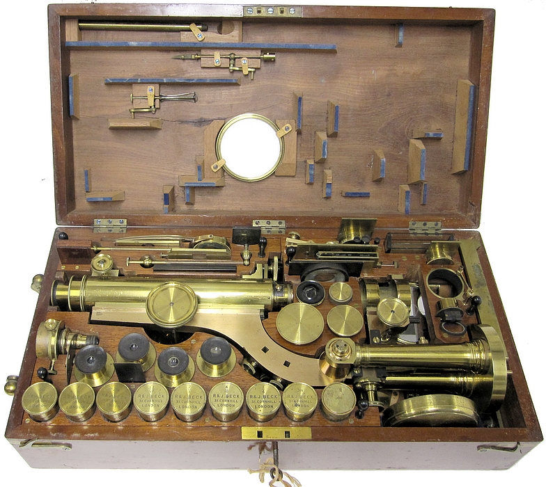 R. & J. Beck, 31 Cornhill, London, #6251. The Large Best Portable Binocular Microscope, c.1872. In storage case