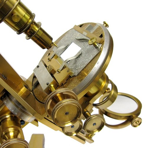 w. h. bulloch, chicago, pat. 1879, #260. the no. 1 professional binocular microscope. c.1883 . the stage