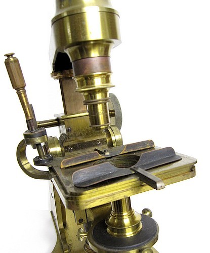 Charles A. Spencer (Spencer & Eaton), Canastota N.Y. The Large Trunnion Model microscope with lever activated mechanical stage, c. 1859