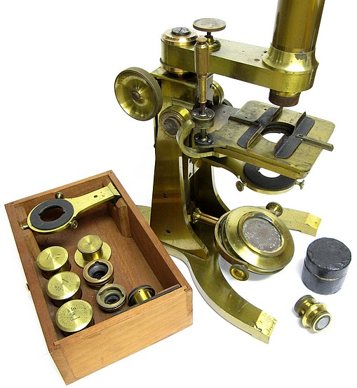 Charles A. Spencer (Spencer & Eaton). The Large Trunnion Model microscope with lever activated stage, c. 1859. Accessories