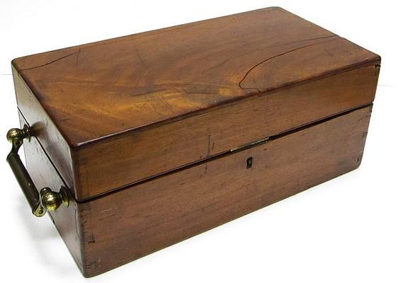 HenryCrouch, London, #942. Student's Binocular Microscope. c. 1875. Storage case