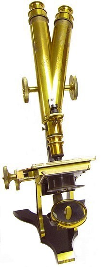 Binocular microscope. H. Crouch, 51 London Wall, London, #574. c. 1871