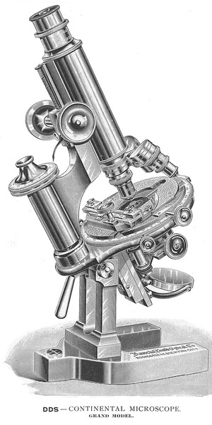 """Bausch & Lomb Optical Co. New York, Rochester NY, Chicago. Serial number 27818. """"The Grand"""" Continental Model Microscope DDS c. 1898"""