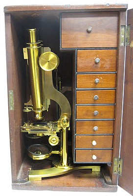 j.b. dancer optician no. 371 manchester. wenham binocular microscope, c. 1863. stored in the case.