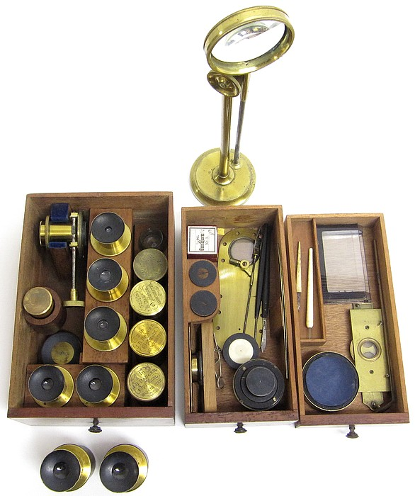 J.B. Dancer Optician No. 371 Manchester. Wenham binocular microscope, c. 1863. Accessories.