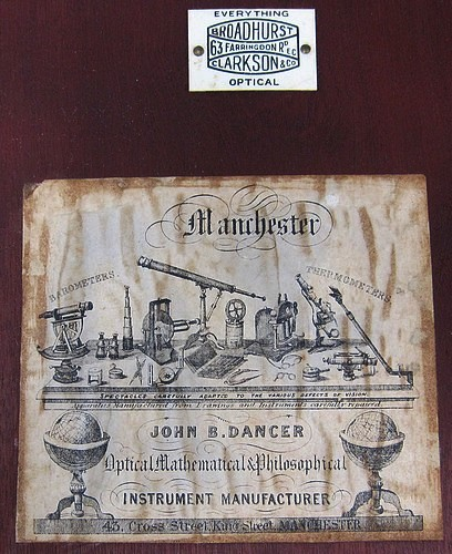 J.B. Dancer Optician No. 371 Manchester. Wenham binocular microscope, c. 1863. Trade label on inside door.