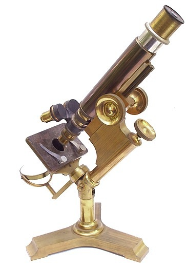 monocular microscope, Jno Erhmann, maker