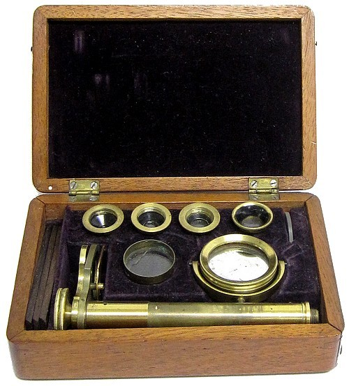 English Botanical Microscope, c.1840. Stored in the case.
