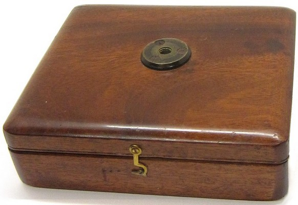 Case-mounted microscope with fine adjustment, English, c. 1845