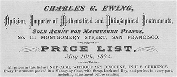 Charles G. Ewing San Francisco c. 1870. Binocular microscope of English origin