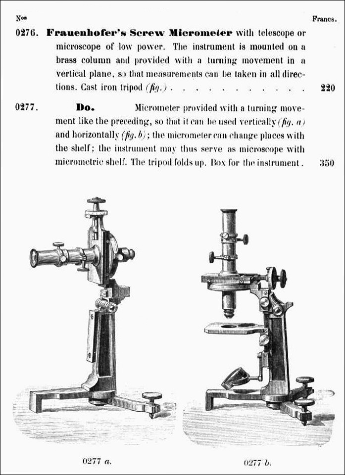 Fraueuhofer'a Screw Micrometer with telescope or microscope of low power.   The instrument is mounted on a brass column and provided wiih a turning movement in a vertical plane. So that measurements can be taken in all directions.