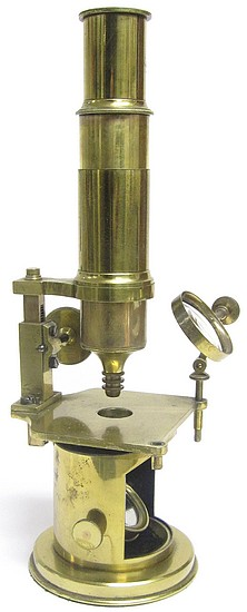 French Drum Microscope with rack and pinion focusing, c.1850. The microscope of the Scottish naturalist, geologist, and archaeologist George Tate (1805-1871)