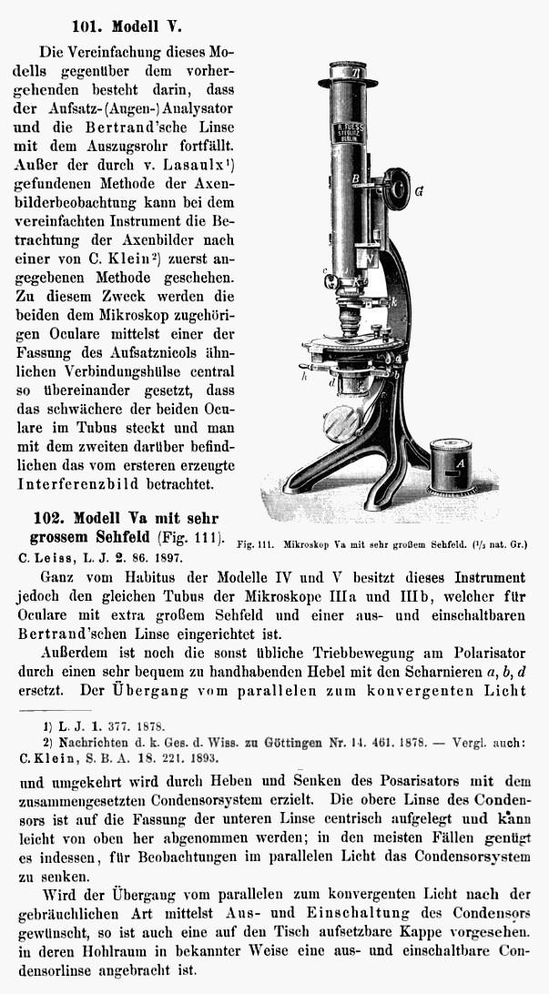 extracted from Die optischen instrumente der firma R. Fuess deren beschreibung, by Carl Leiss, Fuess, R., firm, Leipzig, 1899