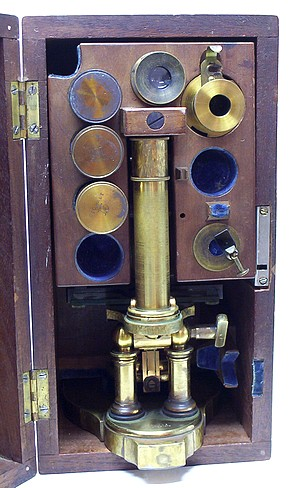 George Wale Microscope in case