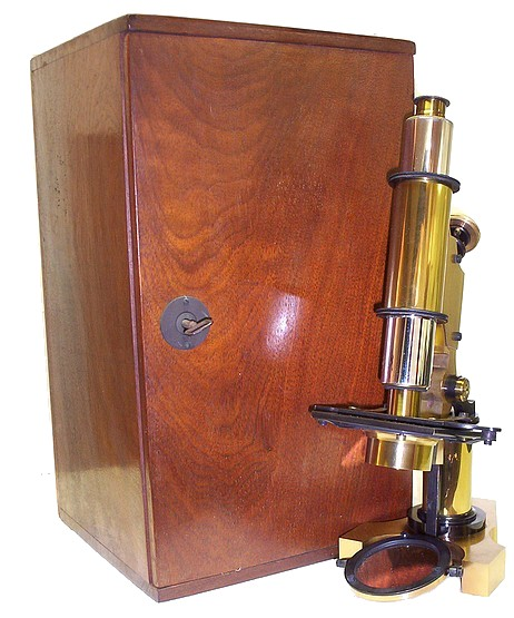 George L. Gowlland, Cambridge Mass. Monocular Microscope and wood case, c. 1890
