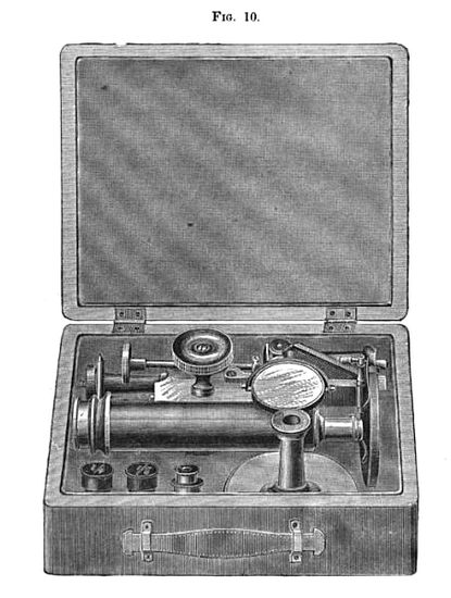 The Improved Griffith Club Microscope stored in the case