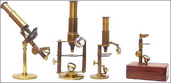 A group of French microscopes c.1860. Each apparently made by the same manufacturer