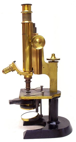 J. Grunow, New York - Roosevelt Memorial. Monocular microscope, no serial number, c. 1890