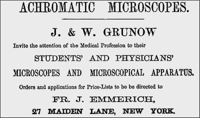 Grunow microscope advertisement 1864