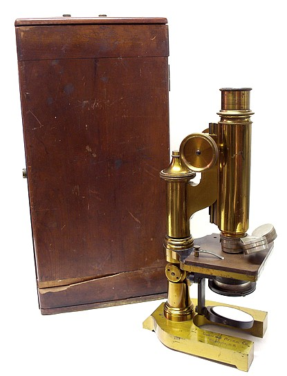 Gundlach Optical Co., Rochester, N.Y. Continental style microscope, c. 1895