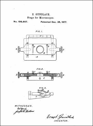 The glass stage and slide holder are described in Gundlach patent Dec. 25, 1877