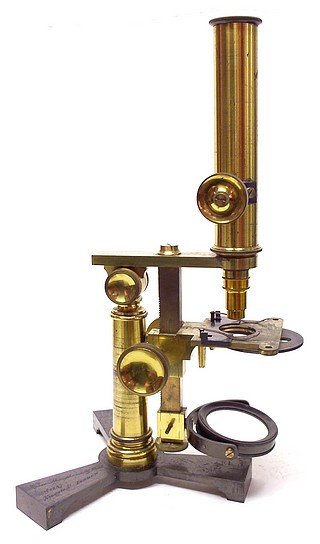 Horne Thornthwaite &   Wood 123 Newgate Street London . Stage focusing microscope, c.1850