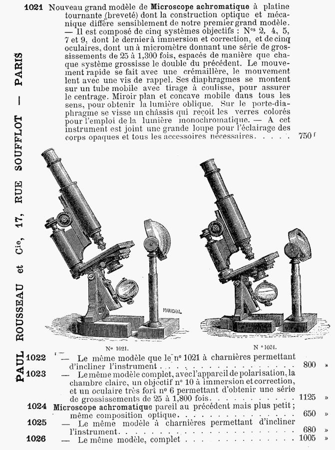 Hartnack microscopes Rousseau catalog 1888