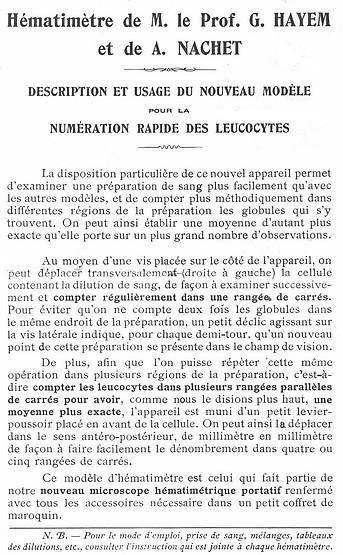 Hematimetre de M. le Prof. G. Hayem et de A. Nachet