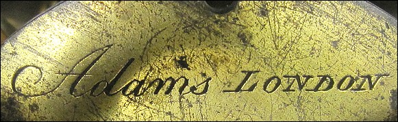 Adams signature on Culpeper microscope