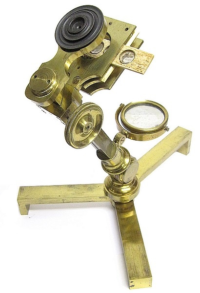 An Improved compound and single microscope with early Canadian history. Used as a simple microscope