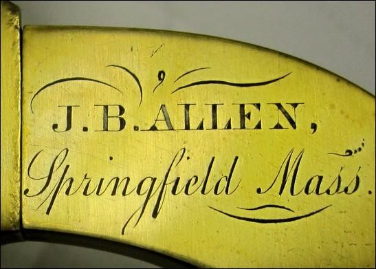 J. B. ALLEN, Springfield Mass., Early American monocular microscope, c. 1858 signature
