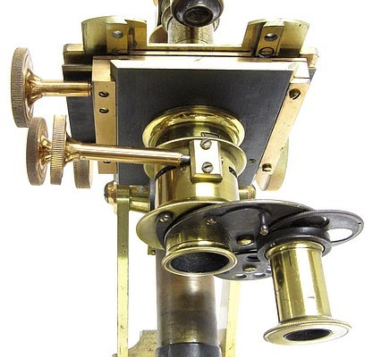 J. Swift, Optician, 128 City Road, London E. C. Binocular microscope for conventional and polarized light microscopy, c. 1870. Substage