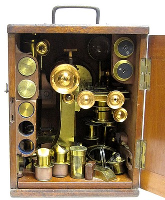 J. Swift, Optician, 128 City Road, London E. C. Binocular microscope for conventional and polarized light microscopy, c. 1870.Stored in the case.