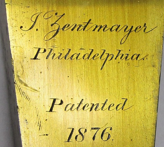 J Zentmayer Philadelphia patented 1876