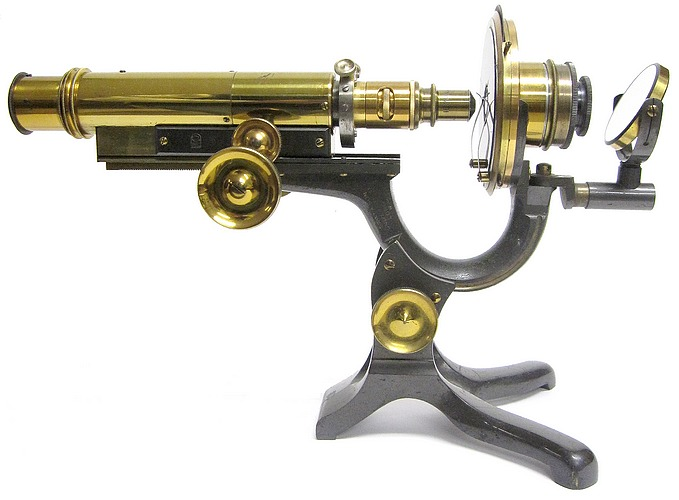 James Swift & Son, University St. London W.C. Improved Wale's American Microscope, c. 1881. Version constructed as a polarizing (mineral) microscope