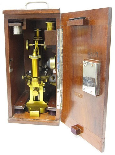 F. Koristka, Milano #6827. Large Continental Microscope, c. 1900. Stored in the wood case.