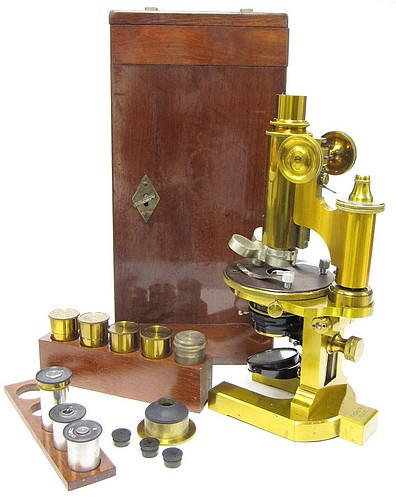 F. Koristka, Milano #6827. Large Continental Microscope, c. 1900. Case and accessories