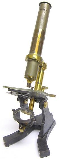 G. Langguth Jr., Optician, Chicago. Monocular microscope, c. 1865. Likely made by Samuel Murset, Philadelphia