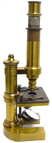 Monocular microscope: E. Leitz Wetzlar, No. 8750. Mittleres mikroskop - Stativ III,  c. 1886