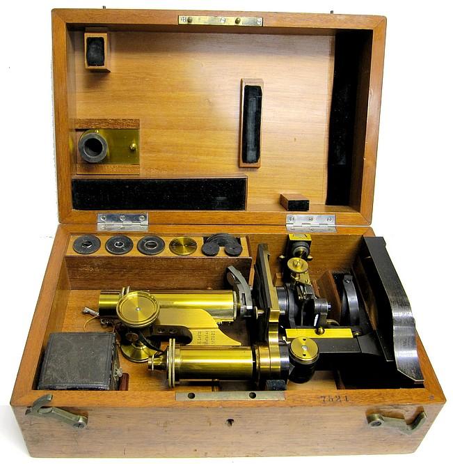 Leitz microscope in storage case