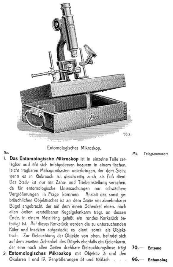 Leitz entomological microscope catalog escription