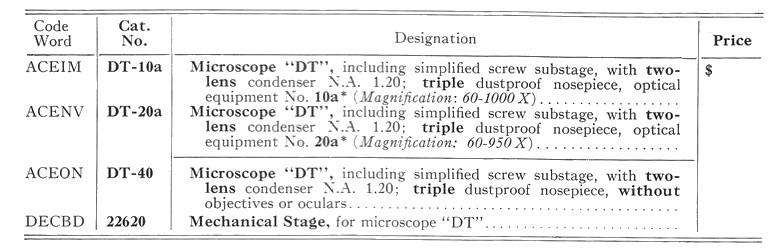 "Leitz Large Travelling Microscope ""DT"" catalog description"