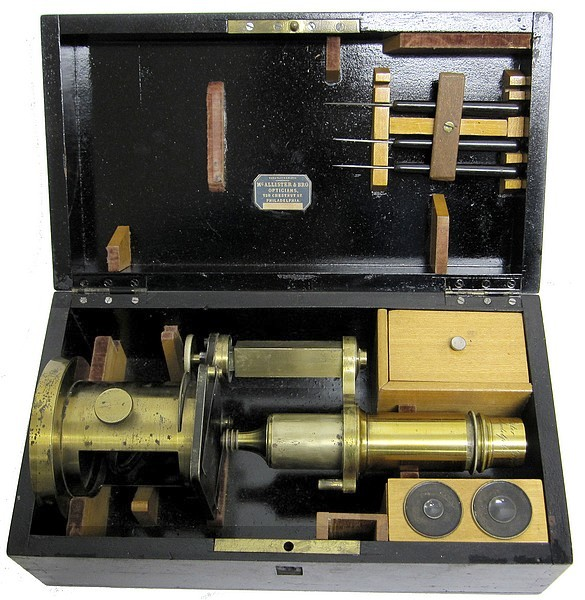 Imported French Drum Microscope (Nachet type). Signed on the tube McAllister & Brother, Philadelphia, c. 1855