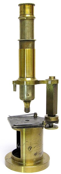 Imported French Drum Microscope  (Nachet type). Signed on the tube McAllister & Brother, Philadelphia, c. 1854