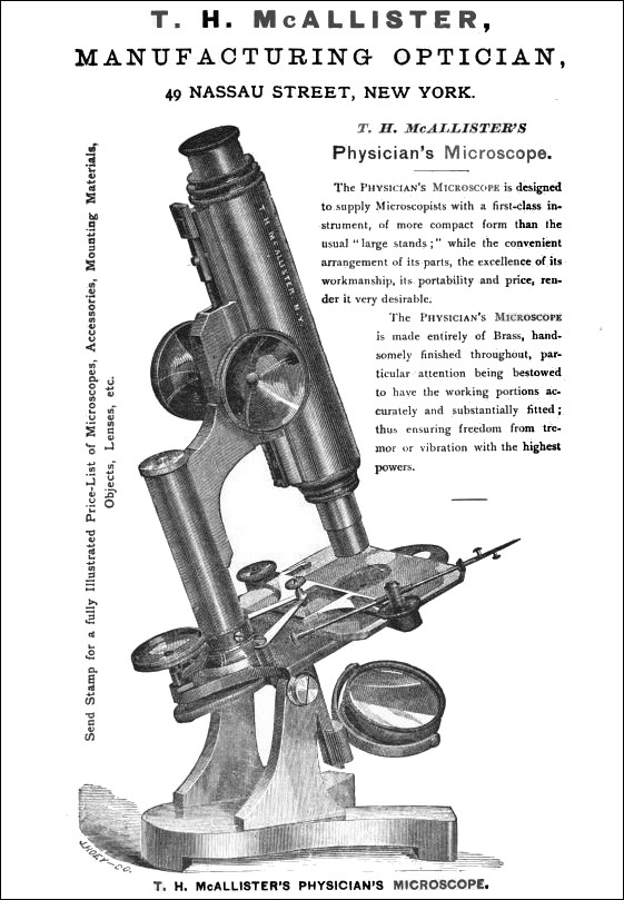 T. H. McALLISTER, MANUFACTURING. OPTICIAN,49 NASSAU STREET, NEW YORK. Physician's Microscope.
