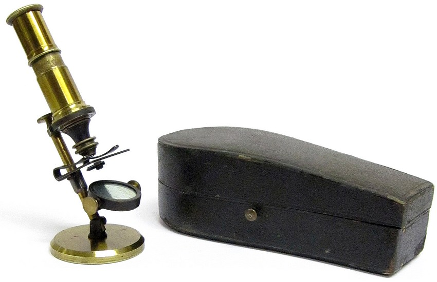 Miniature French Pocket Microscope in a Coffin-shaped Case, c. 1870
