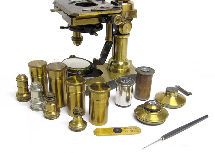 Nachet 17 rue St. Severin, Paris. Middle model No. 4 microscope with mechanical stage, c.1890. Accessories
