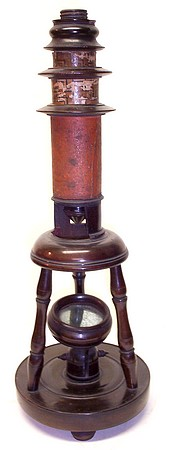 Nuremberg toy Culpeper style microscope. c. 1800 signed IM. Made of wood and decorated cardboard