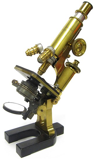 Paul Waechter, Berlin #12416. Large model No. 1b for bacteriological investigations. c. 1888. The microscope of Dr. Julius Townsend Rose MD (1869-1950)